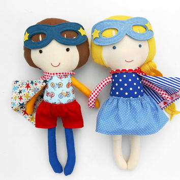 RAG DOLLS, twin dolls, superheroes, doll pair, dolls, fabric dolls, handmade doll, boy doll, genderneutral toys, toys, soft dolls, softtoy,