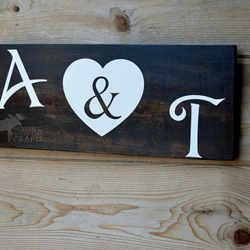 Rustic Wood Initials w/ Heart Sign - wedding gift, housewarming gift,