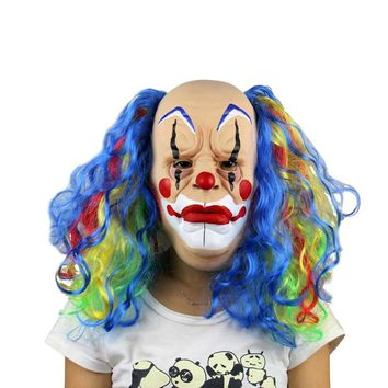 Halloween Mask Scary Clown Latex Full Face Mask Big Mouth Red Nose Cosplay Horror masquerade mask Ghost Party face disguise mask