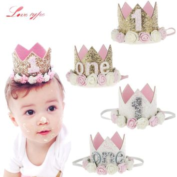 Cool 1PC Baby Birthday Party Hats Princess Queen Crown Hat I Am One Caps Baby Shower Birthday Party Photo Props Children Party DecorAT_93_12