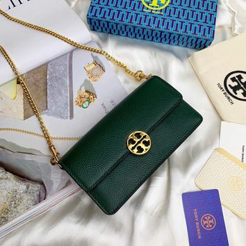 Kuyou Gb99822 Tory Burch Chain Flap Wallet In Green Grained Leather 19x10.5x5cm