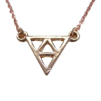 Rose Gold Toned Geometric Triangle Design Pendant Necklace