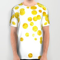 Celebrate | Gold Confetti All Over Print Shirt by Miss L In Art