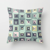 Triangles and Squares IX Throw Pillow by Metron