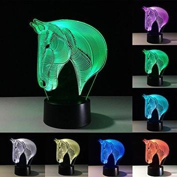 3D Lamp Illusion Animal Horse LED Desk Table Night Light, 7 Color Touch Lamp for Children