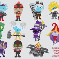 League of Legends Clipart, Yordles, poppy, lulu, corki, veigar, kennen, ziggs, amumu, tristana, heimerdinger, teemo, rumble, lol champions