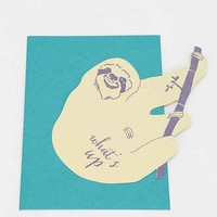 Blackbird Letterpress What's Up Sloth Cutout Card