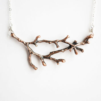 Branch Necklace. Copper Tree Branch Pendant Sterling Silver Chain Fall Autumn Inspired