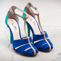Wild Rose Reggie-25 Colorblock T Strap Stiletto Heel (Blue) - Shoes 4 U Las Vegas