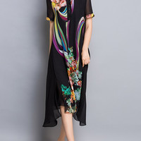 Colorful Light Print Asymmetric Midi Dress (Sold Out)