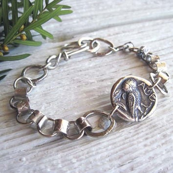 Sterling Silver Owl Bracelet, Greek Owl, Unique Jewelry, Owl Jewelry, Handmade Sterling Chain, Nature Jewelry, Artisan made