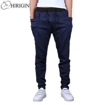 HIRIGIN 2017 Mens Cotton Trackies Skinny leg tapered Slim Joggers Pants Sweatpants cuff sportwear Track Dance wear M-XXL