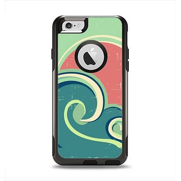 The Vector Retro Green Waves Apple iPhone 6 Otterbox Commuter Case Skin Set