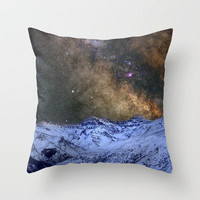 The milky way over the high mountains Throw Pillow by Guido Montañés | Society6