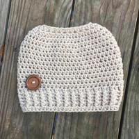 Messy Bun Beanie - Ready To Ship - Linen Messy Bun - Crochet Messy Bun Beanie -  Messy Bun Crochet Bun Hat - Ponytail Beanie