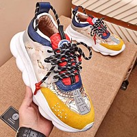 Versace heavy-soled lace sneakers Sneaker Dad shoes Yellow