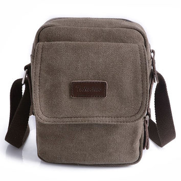 Gorgeous Small Brown Vintage Canvas Shoulder Fanny Bag Messenger Awesome Free Shipping