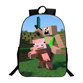 New Arrivals Oxford 16-inches Black Printing Cartoon MineCraft Tenns Boys Backpack for Girls Schoolbag Kids School Bags Children
