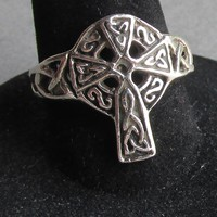 Vintage Sterling Silver Filigree Irish Scottish CELTIC Cross Ring, Size 7.5