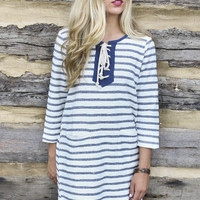 Whimsy Fountain Navy & Cream Striped Knit Shift Dress With Pockets