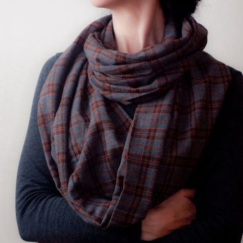Plaid Infinity Scarf Gray Orange Check Loop Scarf Cotton Tartan Circle Scarf Long Fall Winter Eternity Scarf Womens Mens Fashion Accessories