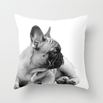 FrenchBulldog Puppy Throw Pillow by ritmo boxer designs
