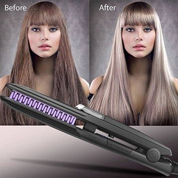 100-250V Hair Straightener Brush, Ionic Steam Ceramic Hair Straightening Comb Faster Heating and Dual Voltage