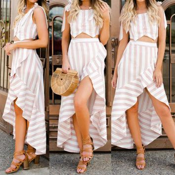 Women Summer Holiday Button Bandage Fashion Skirt Sleeveless 2Pcs Crop Top Pink Striped Spilt Floral Maxi Party Skirts