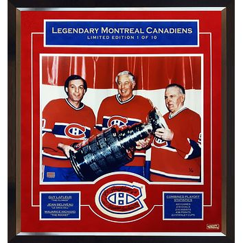 MAURICE RICHARD, JEAN BELIVEAU, GUY LAFLEUR SIGNED, 1 OF 10 PATCH WITH PHOTO