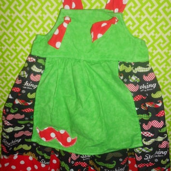 Toddler and girls Christmas knot dress, Staching through the snow dress,Holiday Apron Dress (custom sizes available)