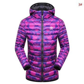 Adidas Autumn And Winter New Fashion Letter Leaf Print Keep Warm Camouflage Couple Top Coat Cotton Clothing