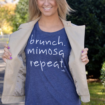 Brunch. Mimosa. Repeat.  tee, navy