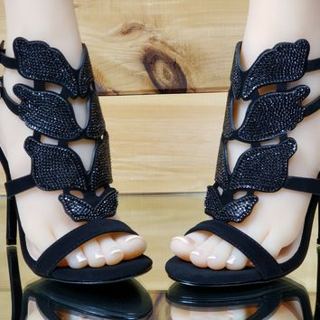 "Bella Luna Fairy Wings 4.25"" High Heel Sandal Stiletto Shoe Black 6-10"