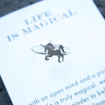 Dogeared   Life Is Magical Unicorn Ring In Sterling Silver