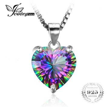 4.35ct Genuine Rainbow Fire Mystic Topaz Heart Pendant in Solid Sterling Silver (Without Chain)