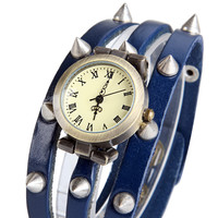 Blue Leather Wrap Watch with Spikes