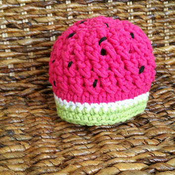 Crochet newborn baby photo prop watermelon hat