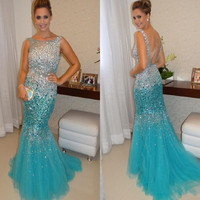 Sheer Crystal Prom Dresses,Mermaid Evening Dress,Light Blue Tulle Long Backless Dress