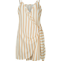 Yellow Stripe Wrap Knot Front Cami Shift Dress