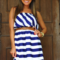 Nautical Stripes Dress: Navy/White | Hope's
