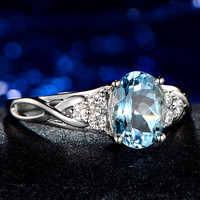 1.3ct Oval Cut Aquamarine Engagement ring,VS Diamond wedding band,14K White Gold,Gemstone Promise Bridal Ring,IF Blue,Propose ring,Curved