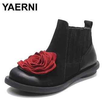 YAERNI 2017 Big Red Flower Women Boots Cow Suede Round Toes Ankle Boots Flat Heels Handmade Shoes Vintage Boots