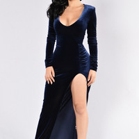 Love Sex Magic Velvet Dress - Navy