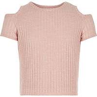 Girls pink lurex cold shoulder top