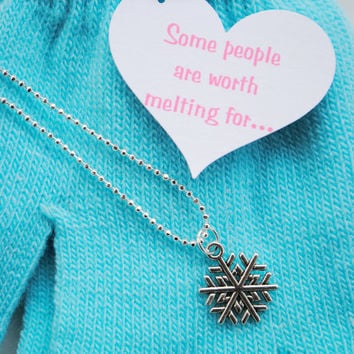 Frozen Snowflake Necklace and Gloves with heart quote