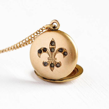 Fleur De Lis Locket - Antique 1900s Edwardian Rhinestone Lily Necklace Pendant - Vintage 14k Gold Filled Art Nouveau Petite Flower Jewelry