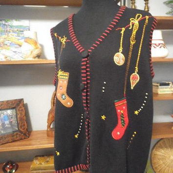 Vintage Christmas Cardigan Sweater Vest ~ Women's XL ~ Stockings Ornaments