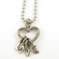 Love Necklace - Antiqued Silver Heart Pendant with Love Charms on 18 Inch Silver Chain Jewelry