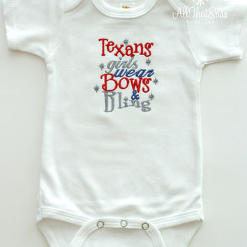 Baby Girls Houston Texans Bodysuit or Tee - Football - Bows and Bling - NFL - Boutique - Embroidered - Texas