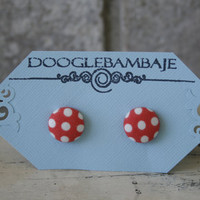 Picnic Polka Dot Design - White Dots on Rouge Coral Red Orange Fabric Button Stud Post Earrings - Wedding- Classy Line